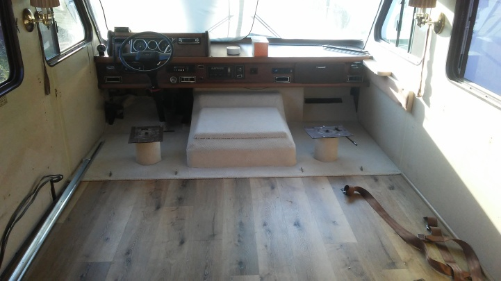 Custom carpet install for driver and passanger seats of mobile home